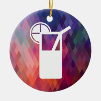 Sip Drinks Pictogram Double-Sided Ceramic Round Christmas Ornament