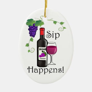 Sip Happens Double-Sided Oval Ceramic Christmas Ornament