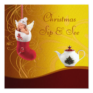 """Sip & See Baby in Christmas Stocking Baby Shower 5.25"""" Square Invitation Card"""