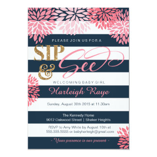 Sip & See Navy Blue and Pink Glitter Baby Shower Card