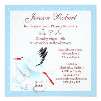 Sip & See Stork Delivering Baby Blue Baby Shower Card