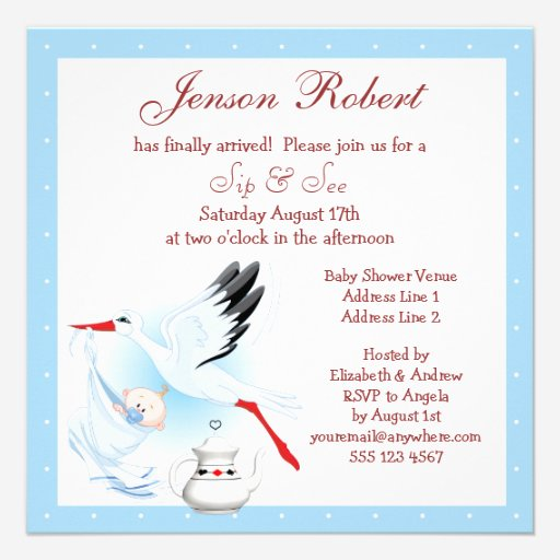 Custom Blue stork baby shower Invites Templates Page2 – Stork Party Invites