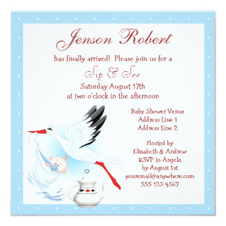 Sip & See Stork Delivering Baby Blue Baby Shower Announcement