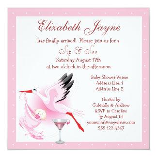 Sip & See Stork Delivering Baby Pink Baby Shower Card