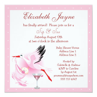 Sip & See Stork Delivering Baby Pink Baby Shower Personalized Announcements