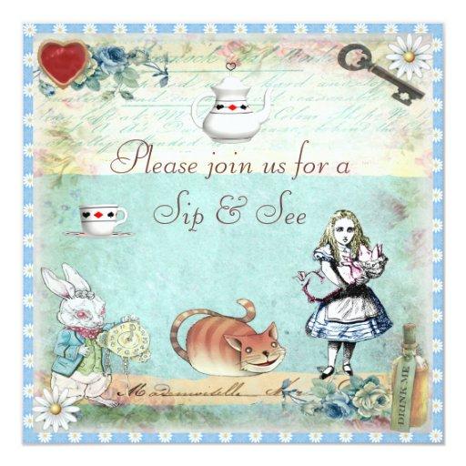 Sip & See Vintage Alice in Wonderland Baby Shower Card