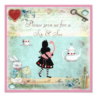 Sip & See Vintage Alice in Wonderland Baby Shower Card