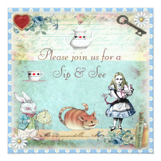 Sip & See Vintage Alice in Wonderland Baby Shower Invitations