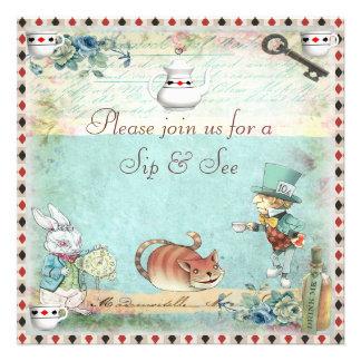 Sip See Vintage Alice in Wonderland Baby Shower Invitation
