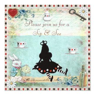 Sip & See Vintage Alice in Wonderland Baby Shower 5.25x5.25 Square Paper Invitation Card
