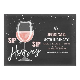 Sip Sip Hooray Chalkboard Wine Adult Birthday Invitation
