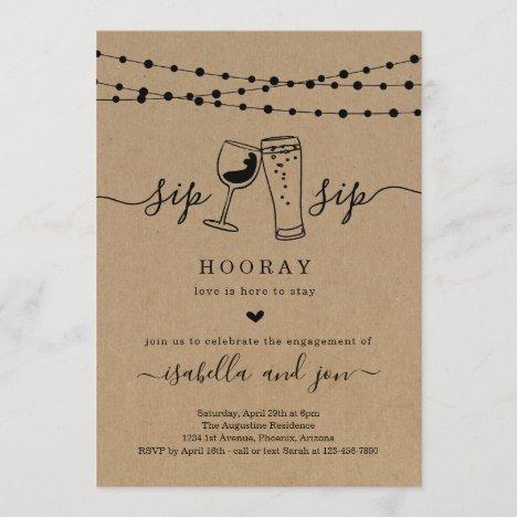 Sip Sip Hooray Engagement Party Invitation