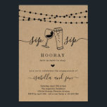 "Sip Sip Hooray Engagement Party Invitation<br><div class=""desc"">Sip Sip Hooray!  Hand-drawn wine and beer toast artwork on a wonderfully rustic kraft background for your engagement party invitations.