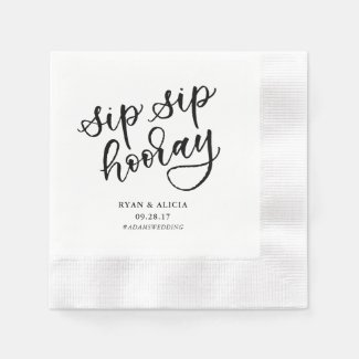 Sip Sip Hooray Personalized Napkin