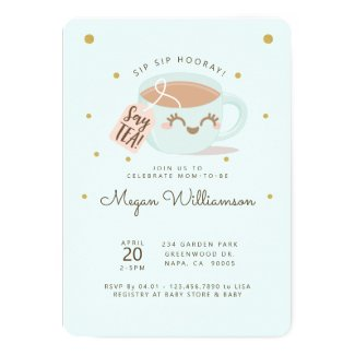 Sip Sip Hooray Say Tea Mint Baby Shower Tea Party Invitation