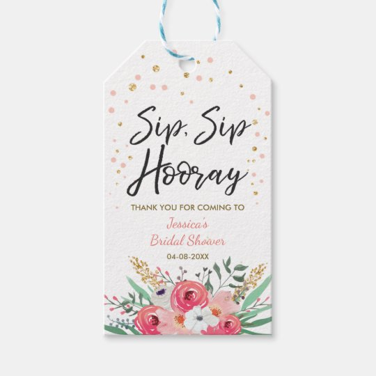 c1a8e066671 Sip Sip Hooray tags Wine labels Bridal Shower Gold