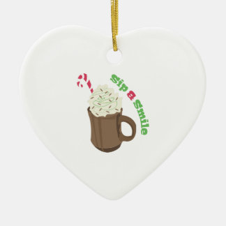 Sip & Smile Double-Sided Heart Ceramic Christmas Ornament