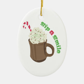 Sip & Smile Double-Sided Oval Ceramic Christmas Ornament
