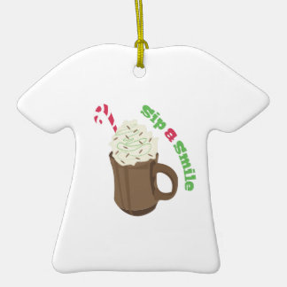 Sip & Smile Double-Sided T-Shirt Ceramic Christmas Ornament