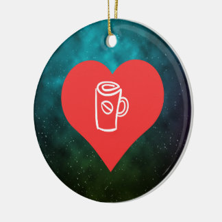 Sipping Coffee Pictogram Double-Sided Ceramic Round Christmas Ornament