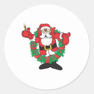 Sipping Santa Classic Round Sticker