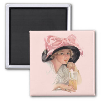 Sipping Soda 2 Inch Square Magnet