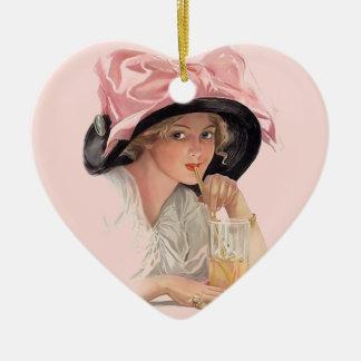 Sipping Soda Girl in Hat Ceramic Ornament