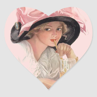 Sipping Soda Girl in Hat Heart Sticker