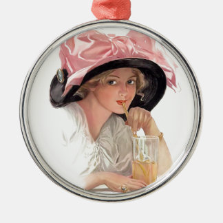 Sipping Soda Girl in Hat Metal Ornament