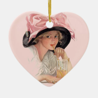 Sipping Soda Girl in Hat Double-Sided Heart Ceramic Christmas Ornament