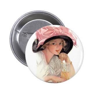 Sipping Soda Girl in Hat Pinback Button