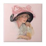 Sipping Soda Girl in Hat Small Square Tile