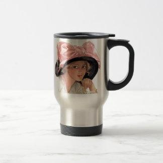 Sipping Soda Girl in Hat Travel Mug