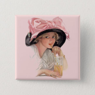 Sipping Soda Pinback Button