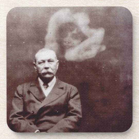 Sir Arthur Conan Doyle with Ghost by Ada Deane Beverage Coaster