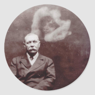 Sir Arthur Conan Doyle with Ghost by Ada Deane Classic Round Sticker
