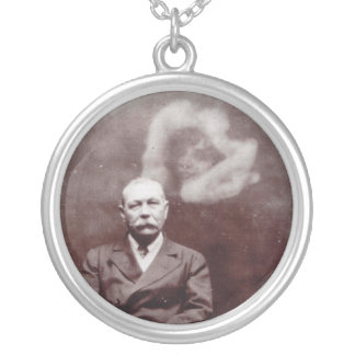 Sir Arthur Conan Doyle with Ghost by Ada Deane Silver Plated Necklace