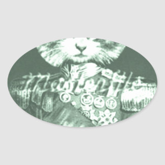 Sir Cat Whiskers Oval Sticker