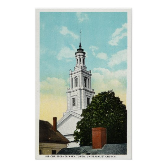 Sir Christopher Wren Tower View Poster