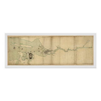 Sir Collyer's Fleet on Penobscot River Map - 1779 Poster