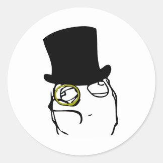 Sir con monóculo pegatina redonda