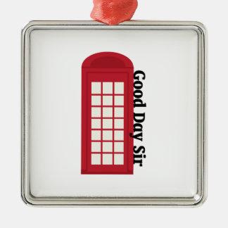 Sir del día de Phonebooth_Good Adorno Cuadrado Plateado