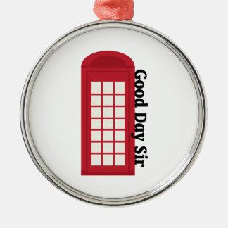 Sir del día de Phonebooth_Good Adorno Redondo Plateado