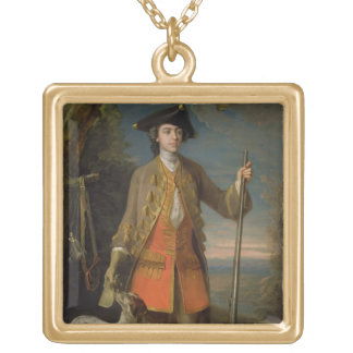 Sir Edward Hales, 1744 (oil on canvas) Square Pendant Necklace