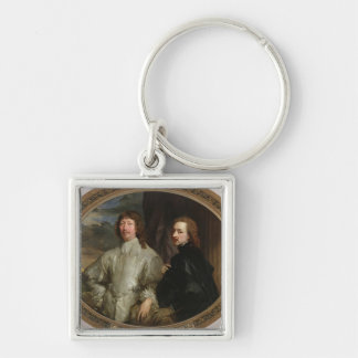 Sir Endymion Porter (1587-1649) and the Artist, c. Silver-Colored Square Keychain