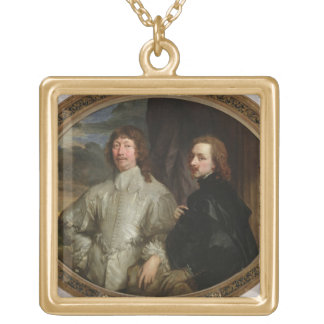 Sir Endymion Porter (1587-1649) and the Artist, c. Square Pendant Necklace