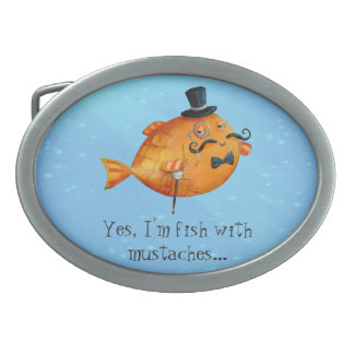 Sir Fishy Mustached Fish Oval Belt Buckles