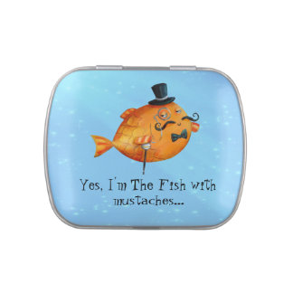 Sir Fishy Mustached Fish Jelly Belly Tins