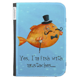 Sir Fishy Mustached Fish Kindle Keyboard Cases