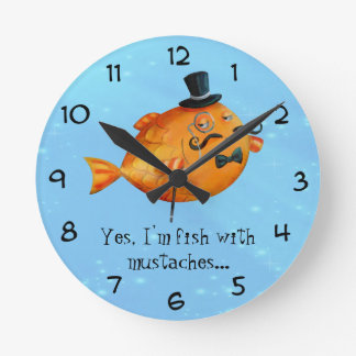 Sir Fishy Mustached Fish Round Clock
